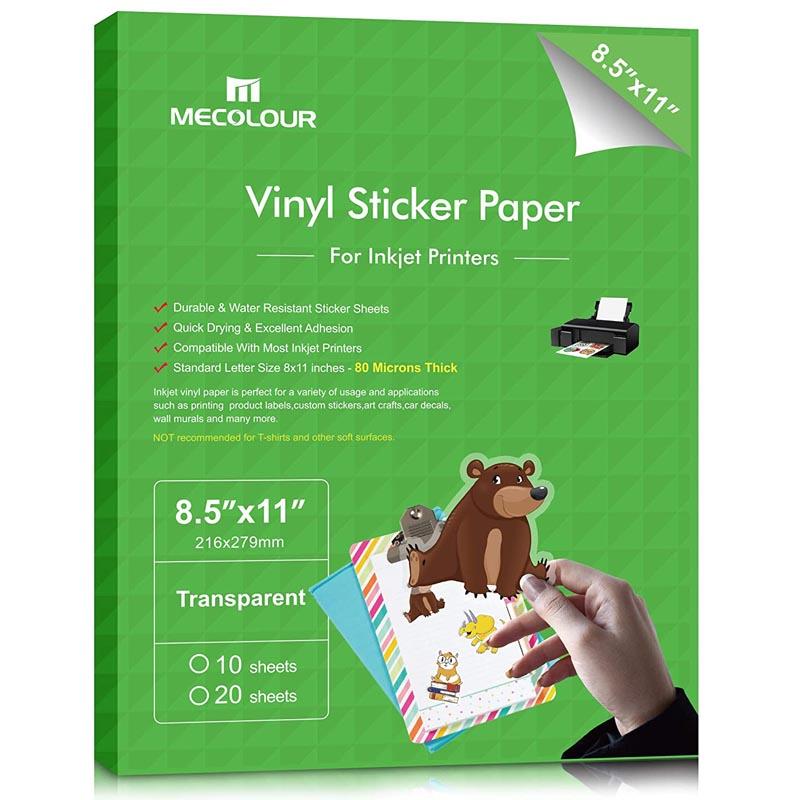 MECOLOUR Premium Printable Vinyl Sticker Paper For Any Epson HP Canon Inkjet Printer