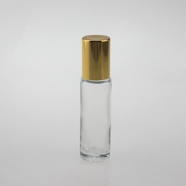 Empty 10ml Glass Roll On Bottles With Gold Cap Supplier