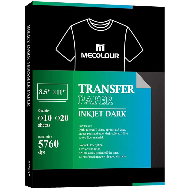 MECOLOUR Inkjet Iron On Transfer Paper 10 Sheets For Dark Fabric 8.5x11 Inch A4 For T Shirt Totes Bags