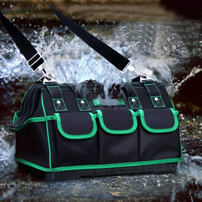 wide mouth tool bag with 8 pockets