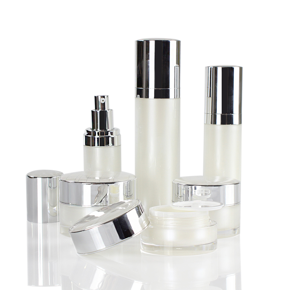 Luxury Pearl White Acrylic Cosmetic Containers Packaging