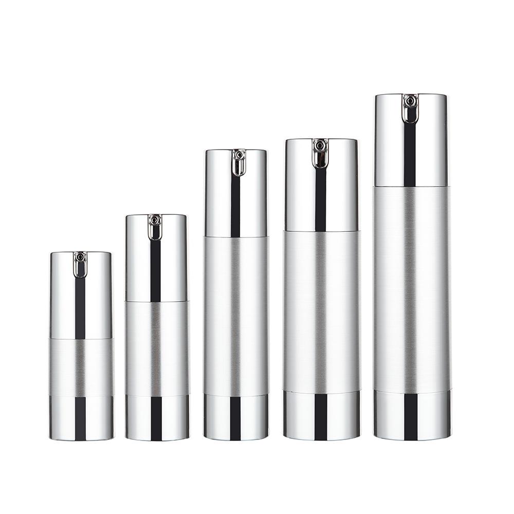 15ml 30ml 50ml 80ml 100ml Silver Airless Dispenser Bottle Packaging