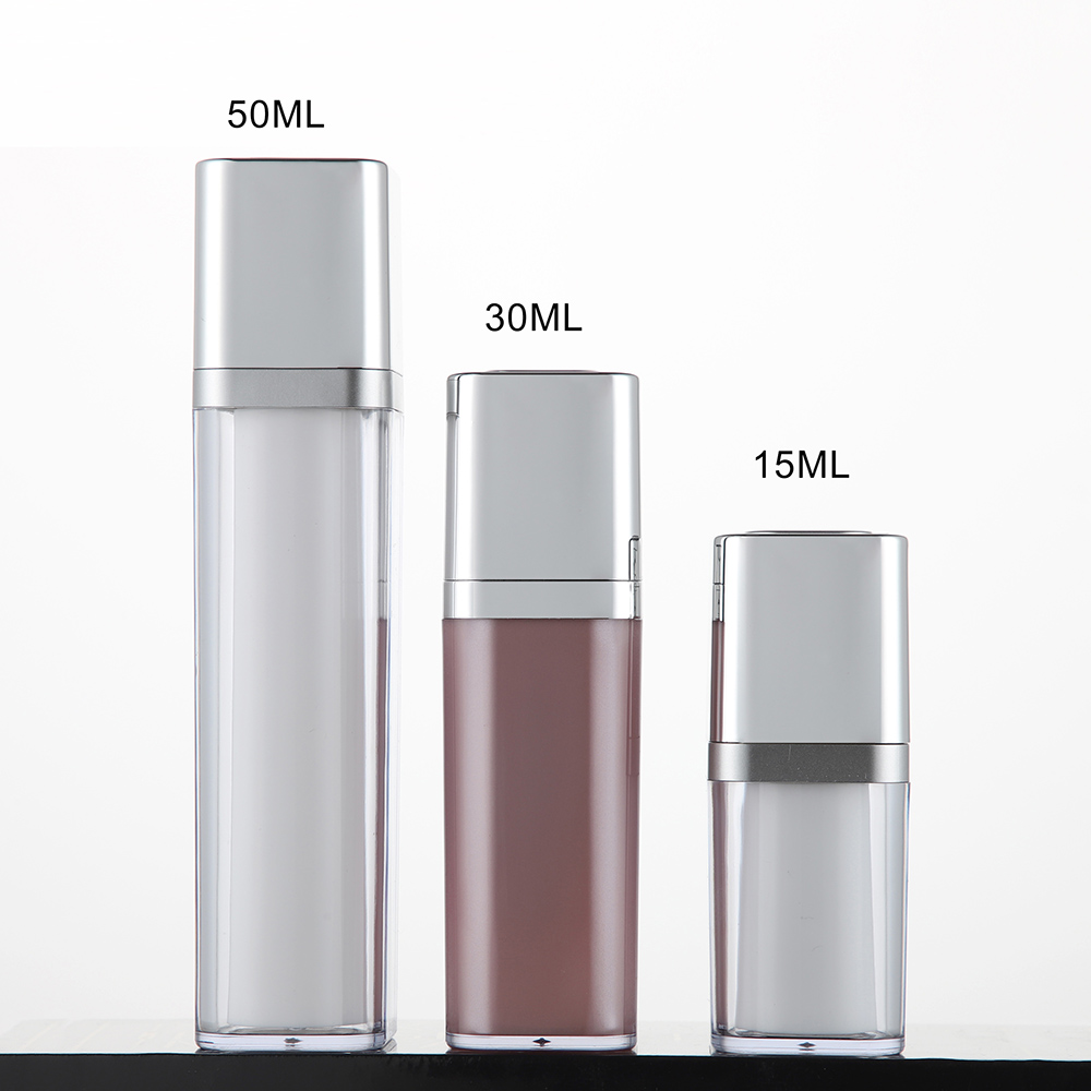 Empty Square Airless Cosmetic Dispenser Pump Bottle with Rotary Closure