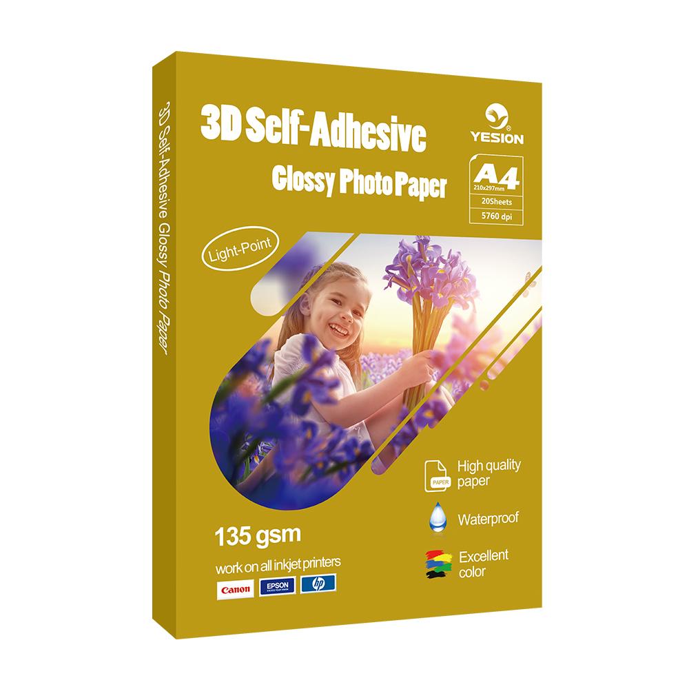 3D glossy self-adhesive photo paper