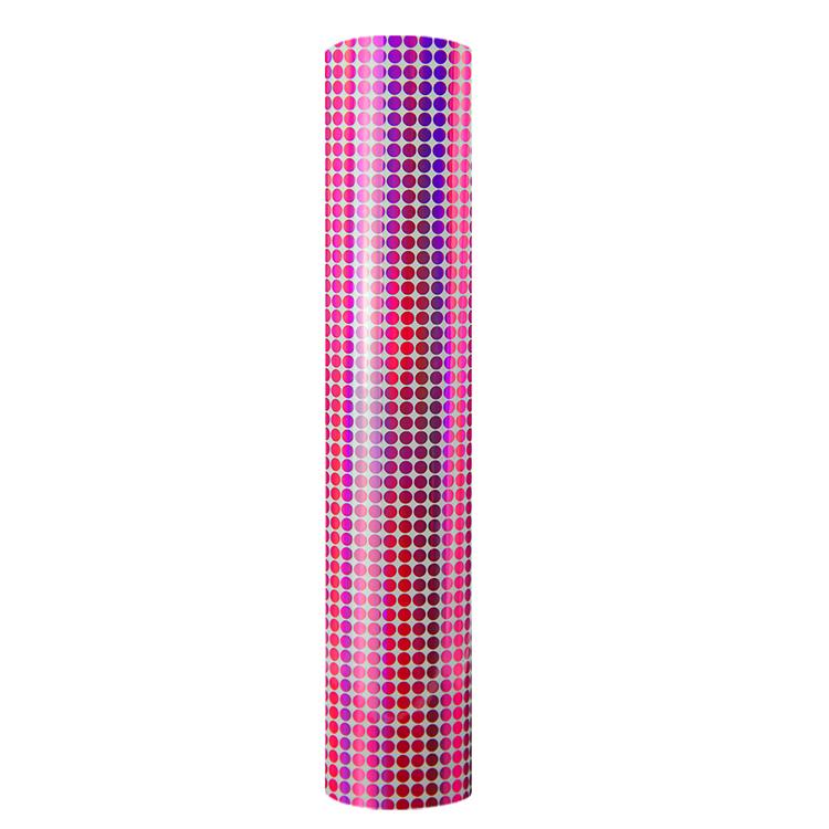Holographic mosaic self adhesive craft vinyl rosered dot