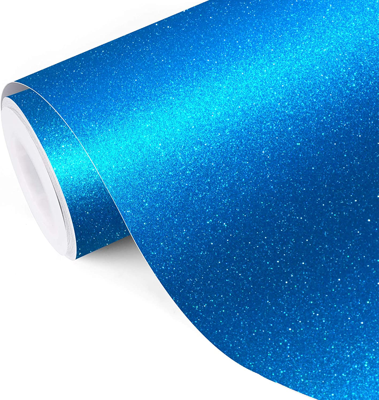 Glitter self adhesive craft sticker vinyl blue color