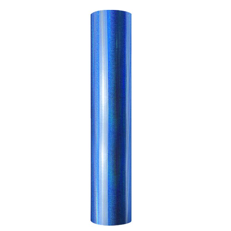 Holographic shimmer self adhesive craft sticker vinyl blue