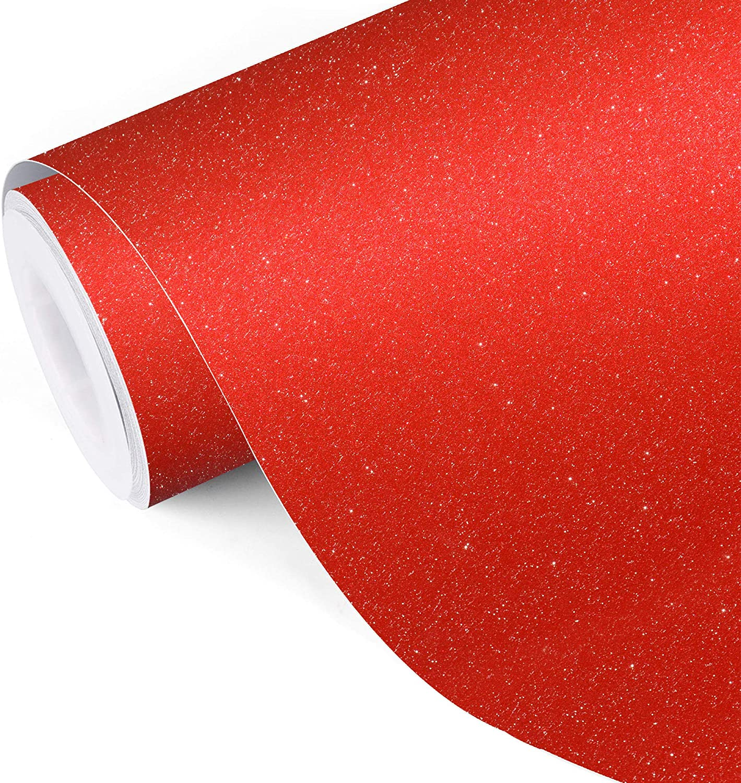 Glitter self adhesive craft sticker vinyl red color