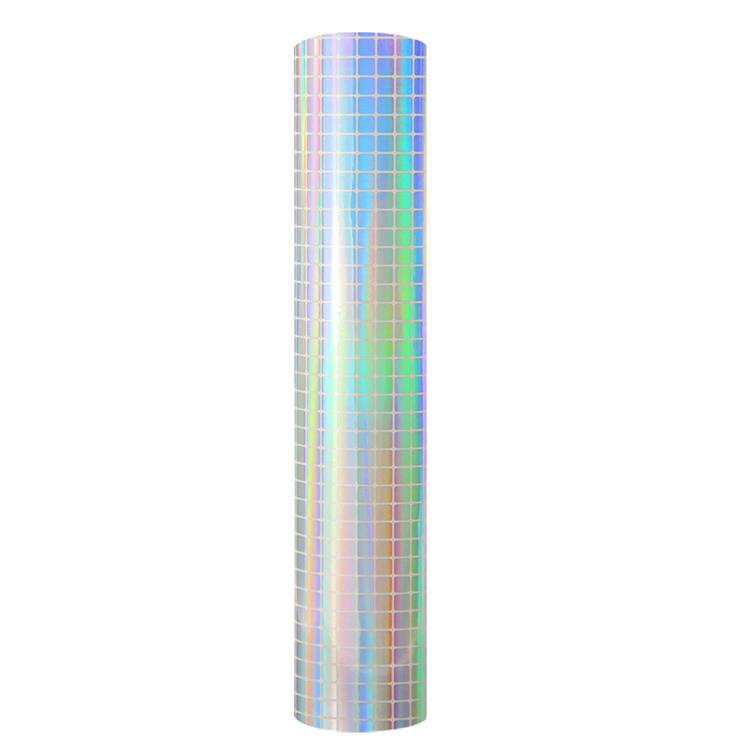 Holographic mosaic self adhesive craft vinyl silver grid