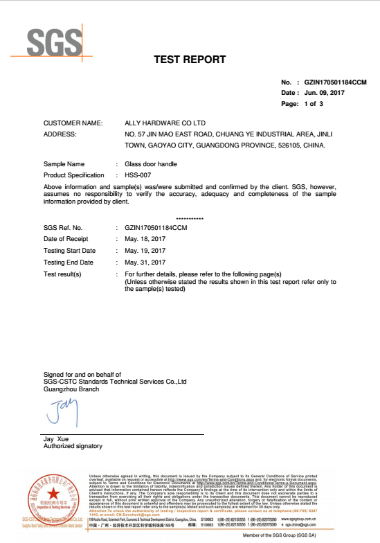 Handle SGS test report