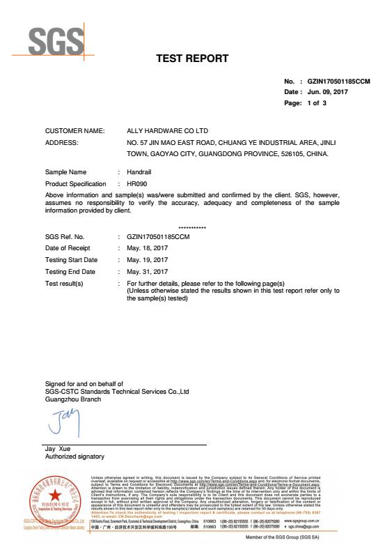Column SGS test report