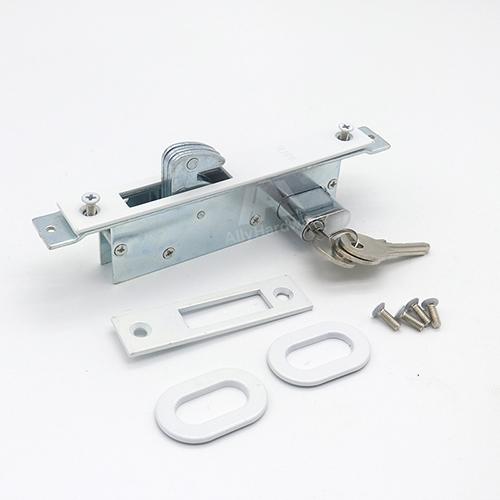 Double open aluminum door mortise narrow profile lock with 3 brass key