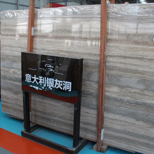 Silver Travertine  Marble Slab Vanity Wall Floor Panel Tile