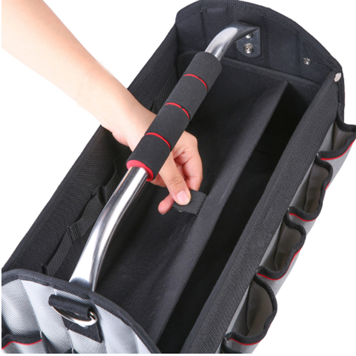17 Inch Open Tool Tote With Rotating Handle