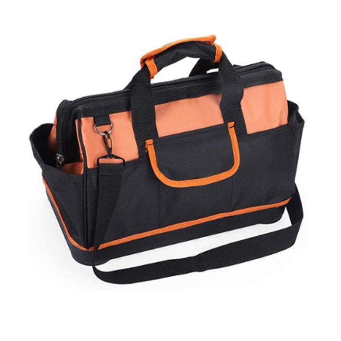 16 Inch Heavy Duty Tool Bag With Wide Mouth For Tool Storage And Organizer