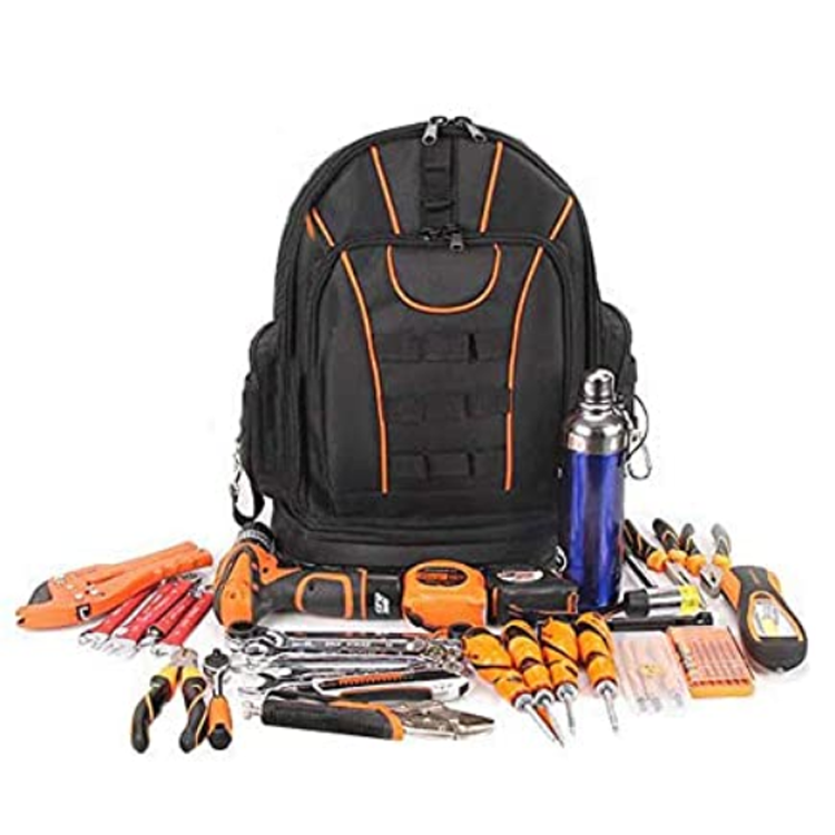 Large Capacity Electrician Tool Backpack With Reinforced Rubber Bottom