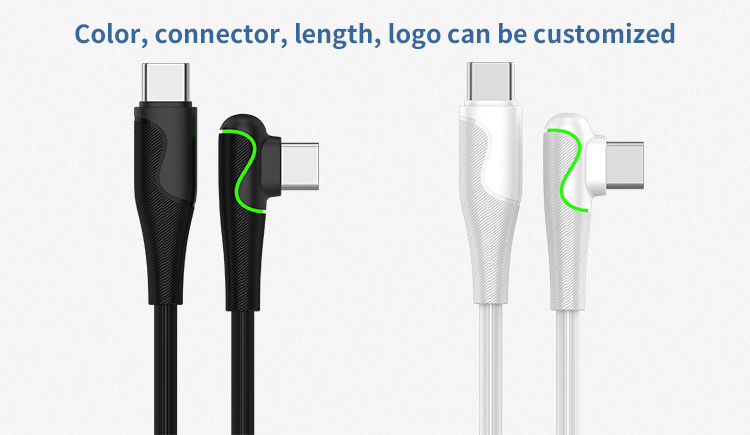 OEM ODM factory hot sale 90 colorful lights pd cable 3A type c to type c fast charge