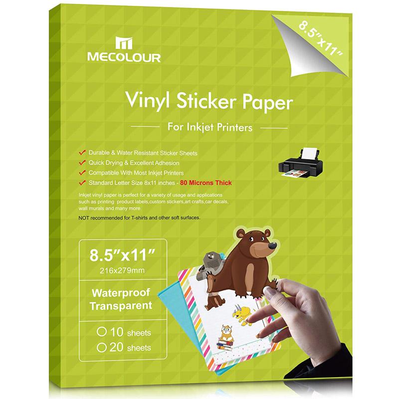 MECOLOUR Premium Printable Vinyl Sticker Paper For Cricut Translucent Waterproof 10 Frosty Sheets