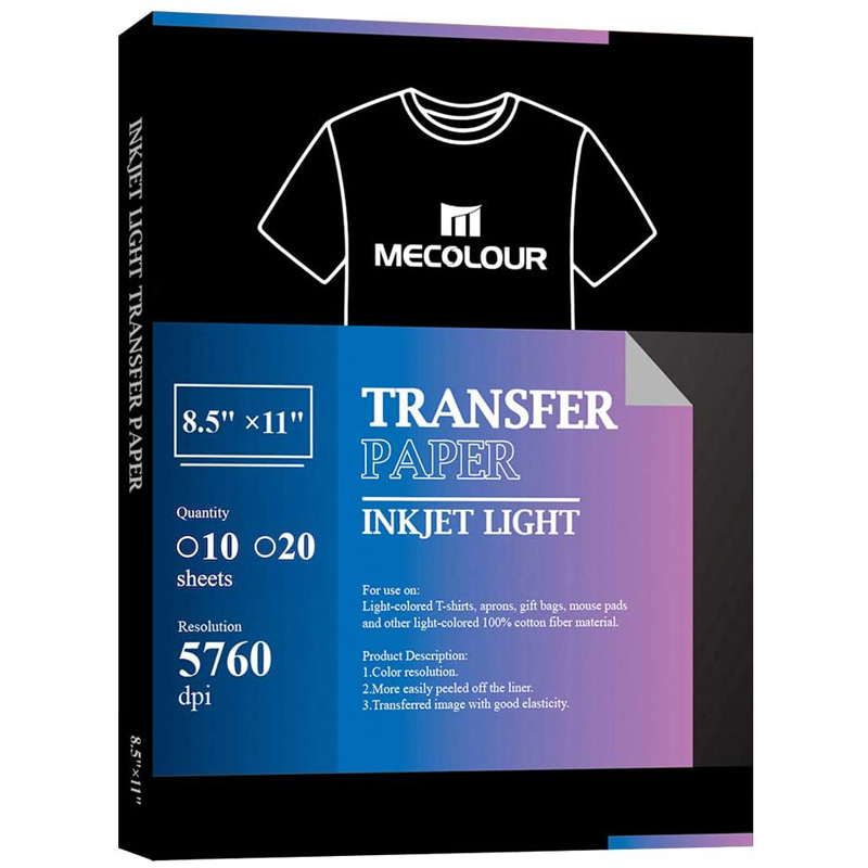 MECOLOUR White And Light Color Premium Iron On Transfer Paper Pack Of 10 Sheets 8.5x11 Inches