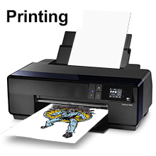 Step 1  ● Print the the image on front side of heat transfer paper (the smooth and soft side is the front side);  ● Please select mirror printing when printing pictures.  ● After printing, allow the paper to dry.