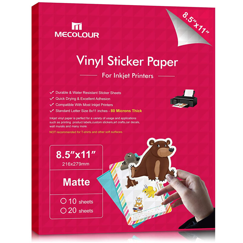 MECOLOUR Premium Printable Vinyl Sticker Paper Dries Quickly Vivid Colors Tear Resistant