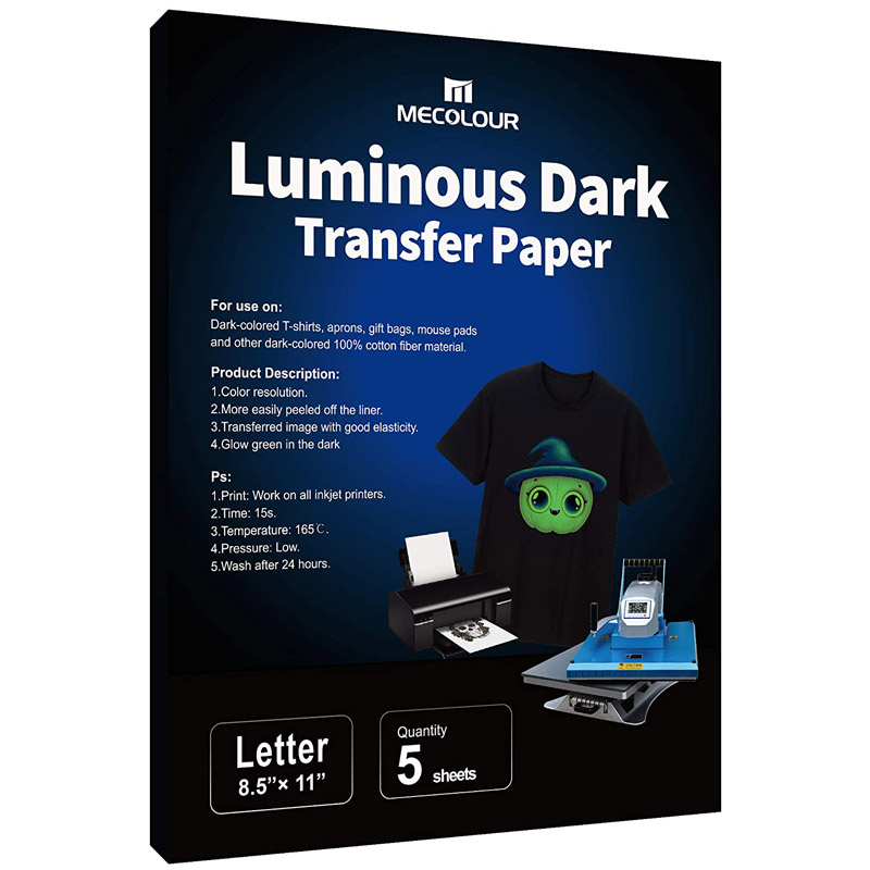 MECOLOUR Inkjet Iron On Luminous Dark Transfer Paper 5 Sheets LTR 8.5X11 Inches Compatible With Inkjet Printer