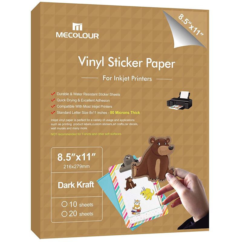MECOLOUR Premium 10 Sheets Printable Vinyl Sticker Paper For Any Epson HP Canon Sawgrass Inkjet And Laser Printer