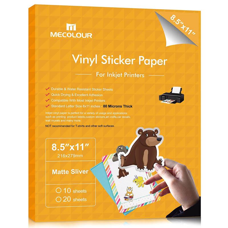 MECOLOUR Premium Printable Vinyl Sticker Paper For Cricut Sliver 20 Sheets Waterproof