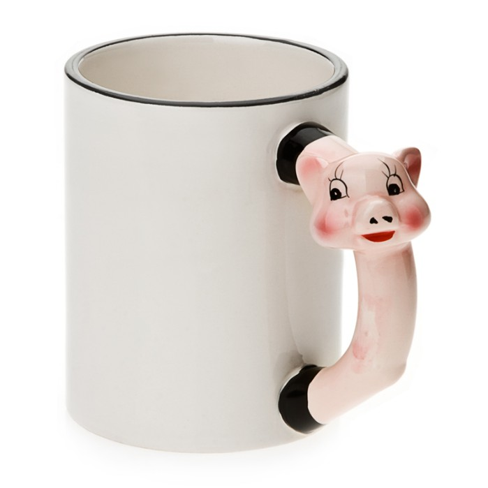11oz White Ceramic Mug With Custom Pig Handle
