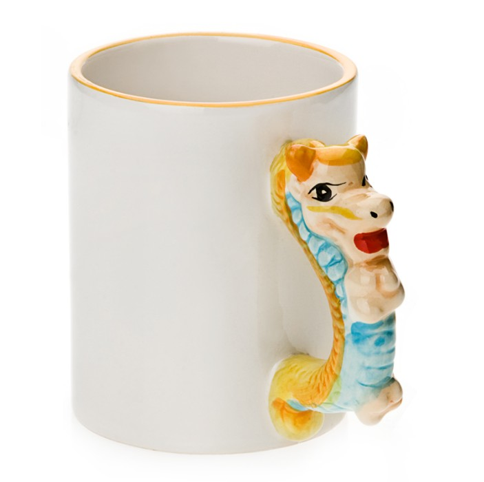 11oz White Ceramic Mug With Custom Dragon Handle