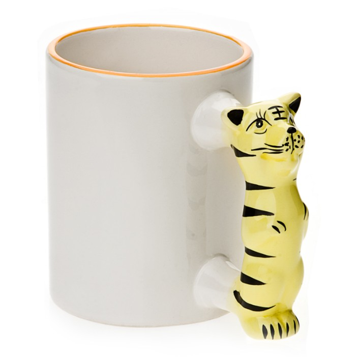 11oz White Ceramic Mug With Custom Tiger Handle
