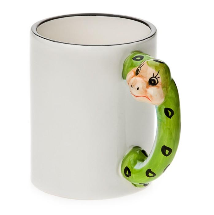 11oz White Ceramic Mug With Custom Snake Handle