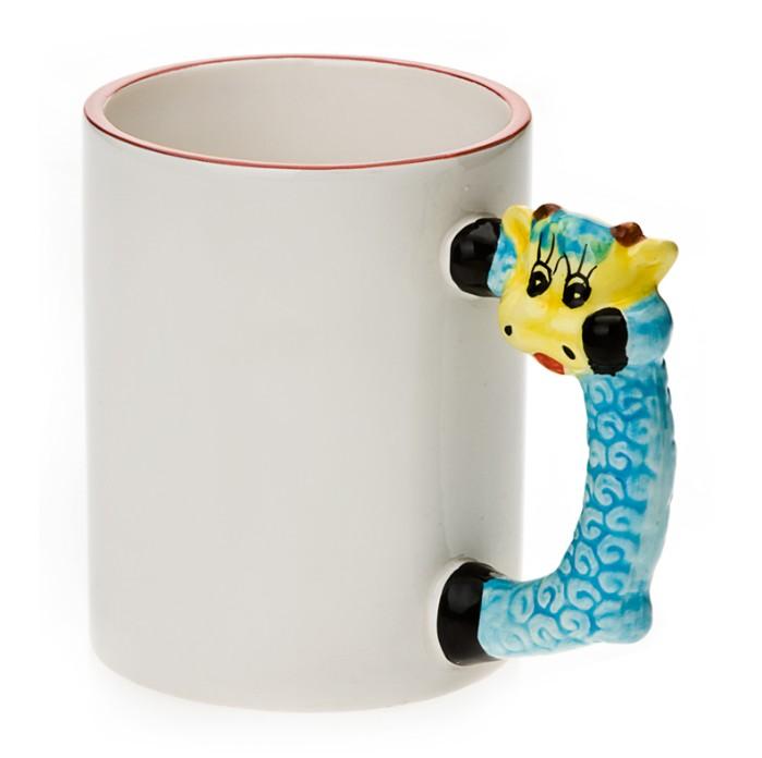 11oz White Ceramic Mug With Custom Sheep Handle