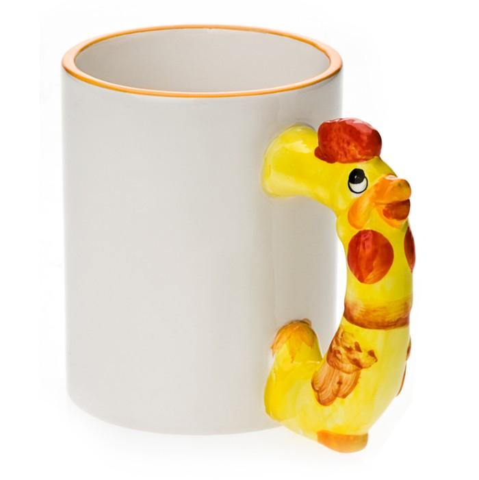 11oz White Ceramic Mug With Custom Rooster Handle