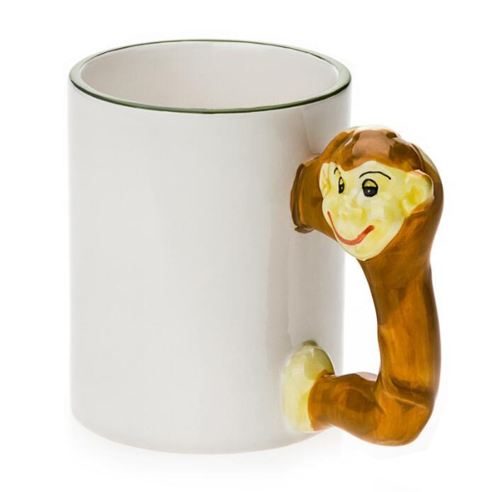 11oz White Ceramic Mug With Custom Monkey Handle