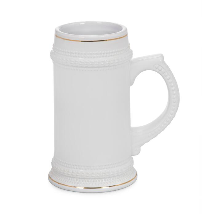 22oz German-style Beer Mug For Sublimation With Gold Border