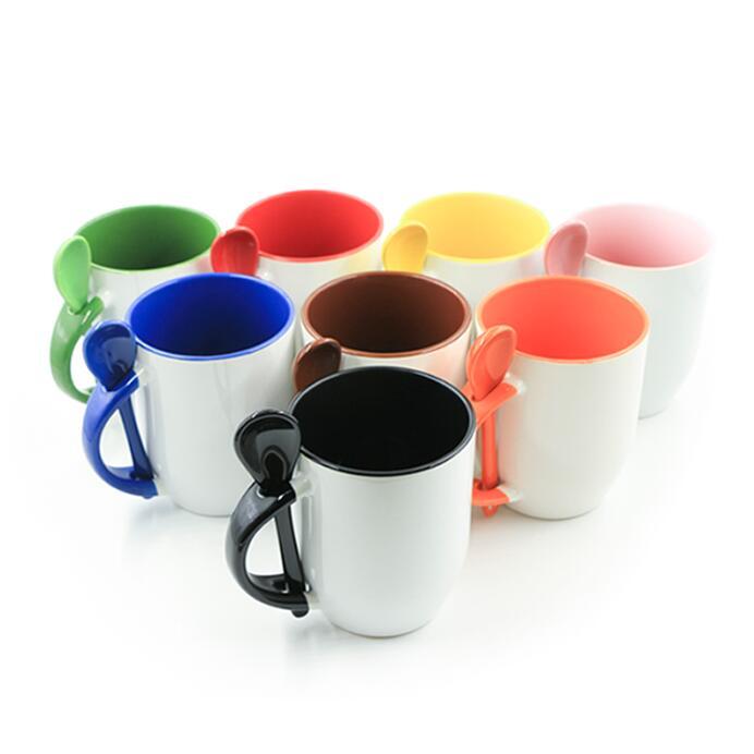 12oz Ceramic Mug With Colorful Spoon, Handle And Interior