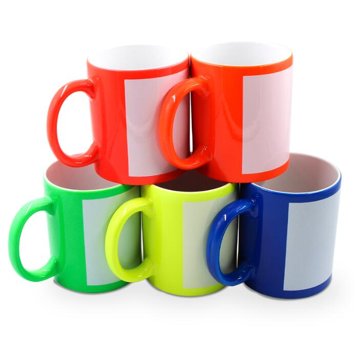 11oz Fluorescent Ceramic Mug With White Patch For Sublimation
