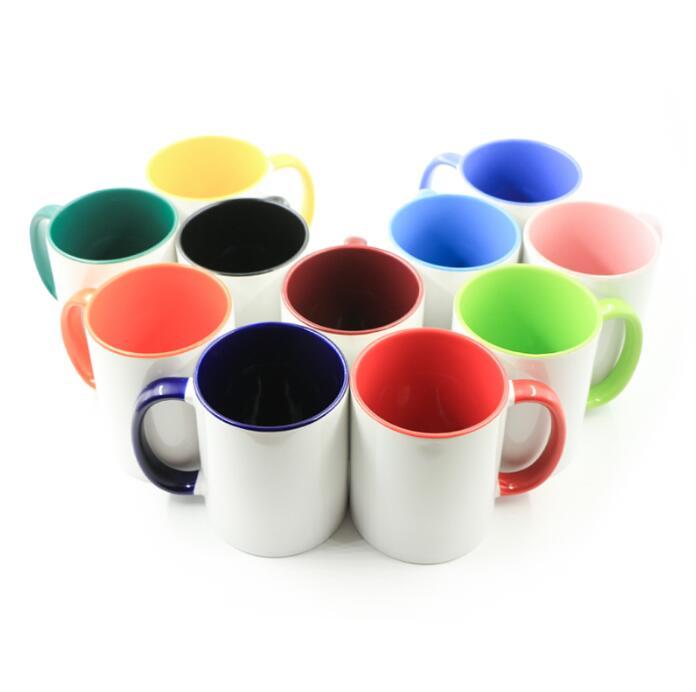 11oz Ceramic Mug For Sublimation - Colorful Interior And Handle