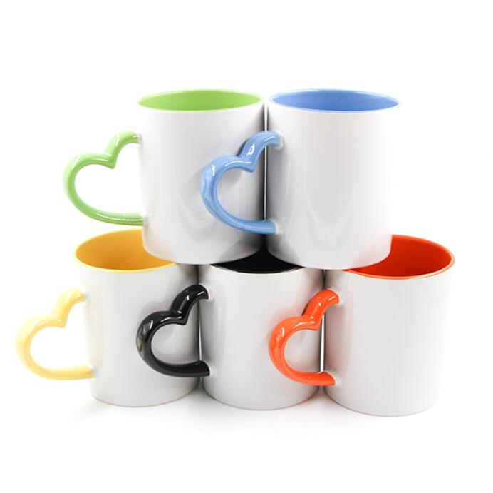 11oz Ceramic Mug For Sublimation With Colorful Heart-shaped Handle And Interior