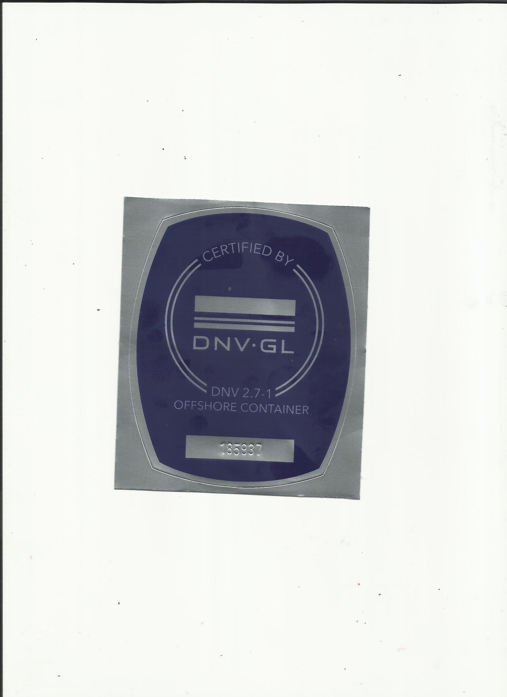 DNV2.7-1 certificate and nameplate