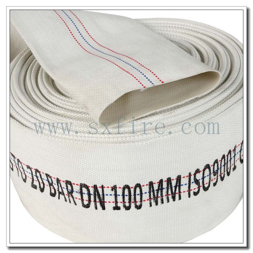 Fire Fighting Hose 16Bar White Synthetic Rubber Lined 100mm Water Hose