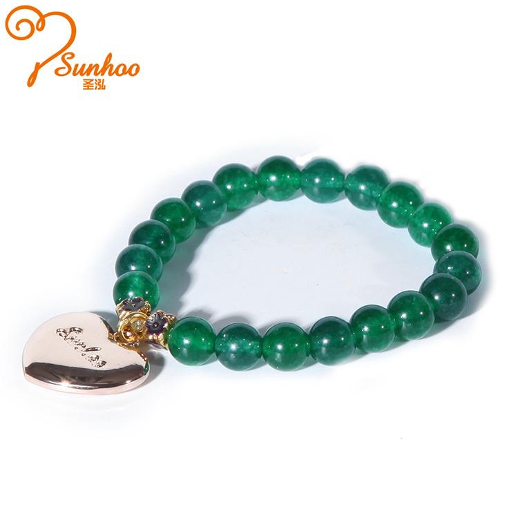 SUNHOO Fashion Women Handmade Green Agate  Zinc Alloy Expandable Bead Bracelet