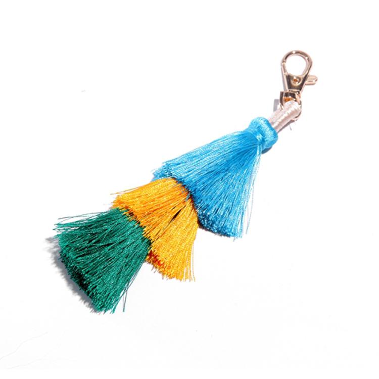 Wholesale Amazon Hot Sales Three Layers Silk Satin Keychain Tassel