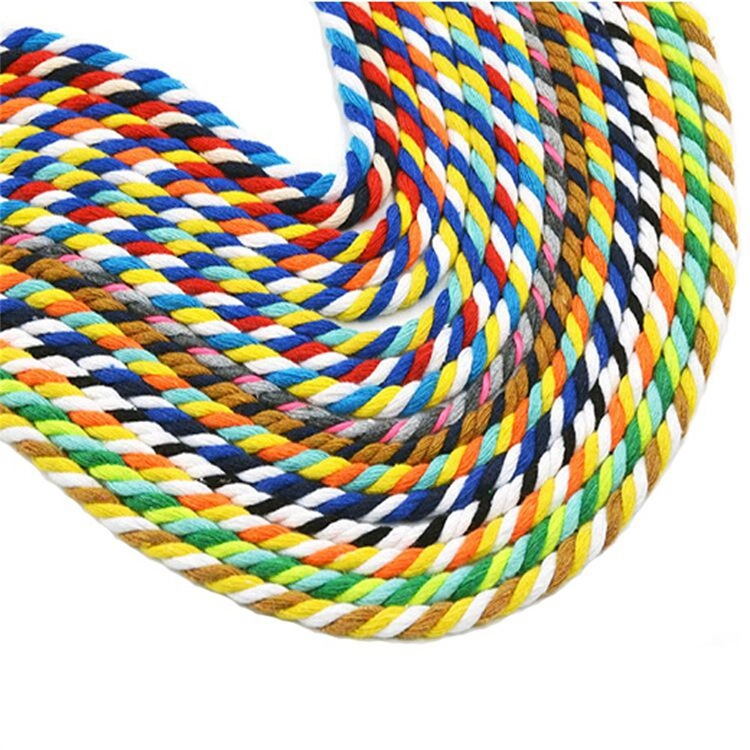 3 Strands Twisted Cotton Rope Trousers Rope Multi-color Custom Twist Decorative Cotton Rope