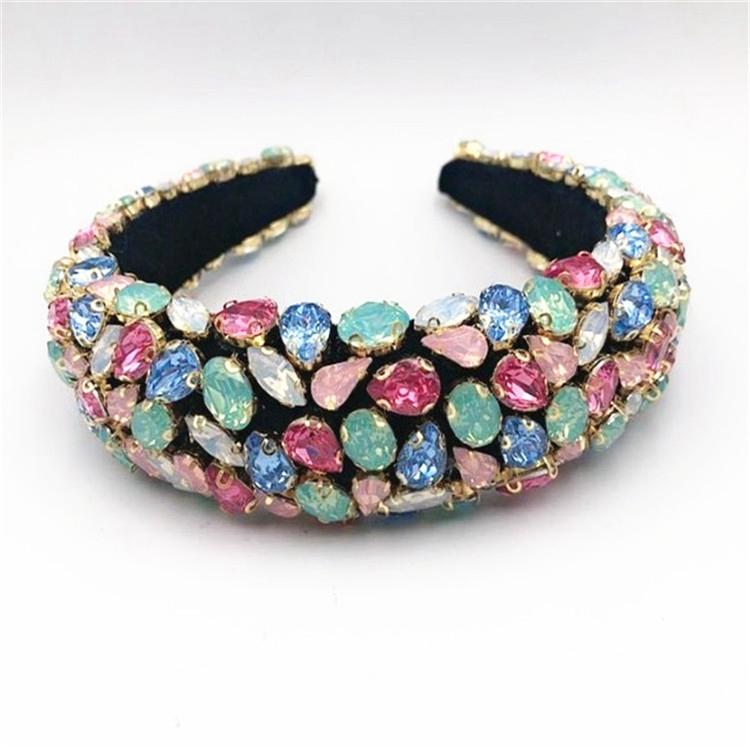 Wide Edge Full Of Colored Diamond Fashion Hair Accessories Baroque Rhinoceros Headband