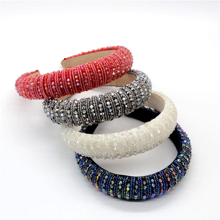 Luxury Headbands Women Baroque Sparkle Bead Jewelled Sponge Headband