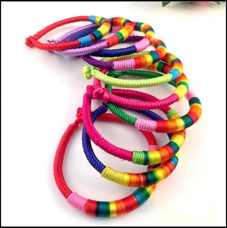 Wholesale Handmade Braided Rainbow Bracelet