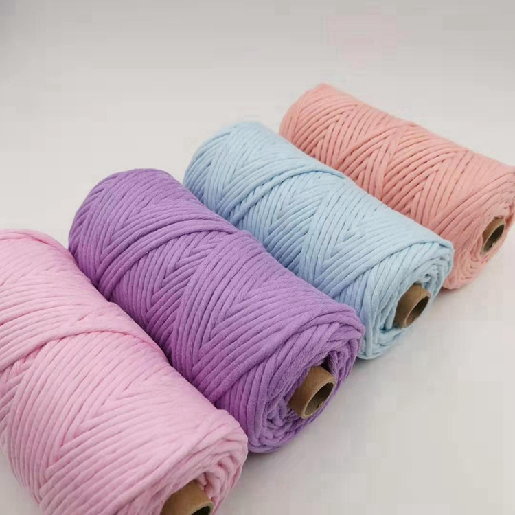 Wholesale 3mm 4mm Soft Single Strand 100% Cotton Macrame Cord Twisted Rope