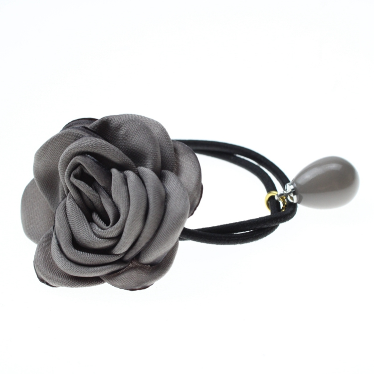 Fabric Rose Flower Elastic Hair Tie With Jewelry Flexible Pure Color Ponytail Holder For Girls And Women